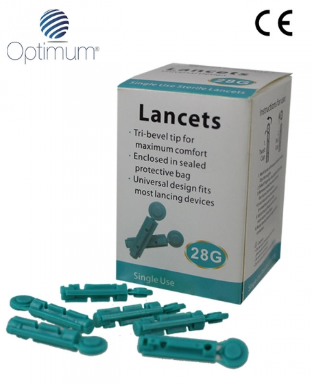 Optimum Blood Glucose <b>Lancets</b> (28G) (3boxs @ 50pcs)