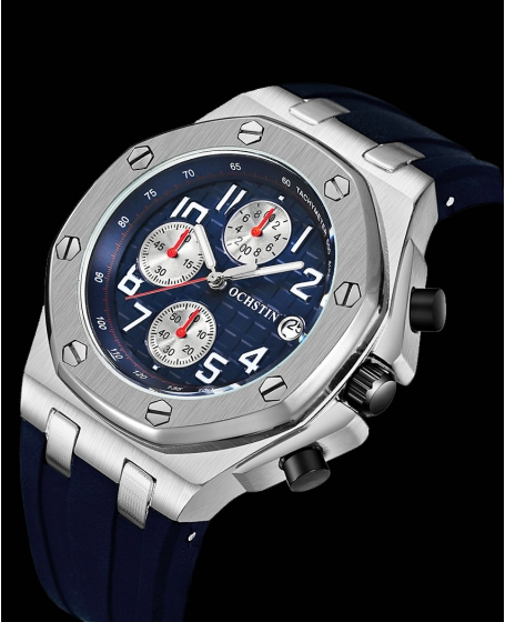 Basic Ochstin Chronograph Watch <b>Silver & Blue</b>