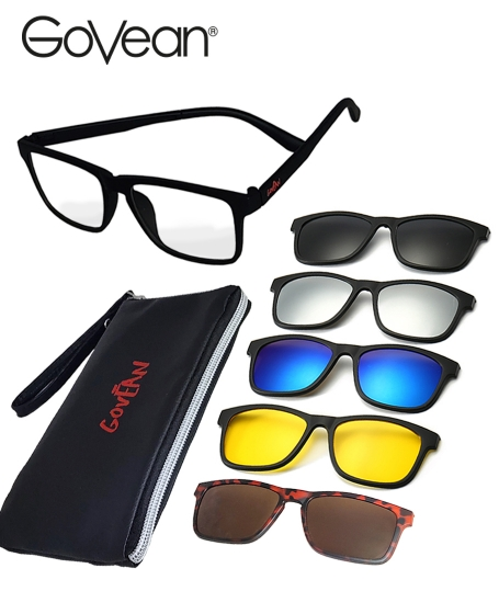 Senses Govean Interchangeable Polarized 5 in 1 Sunglasses <b>Red</b>