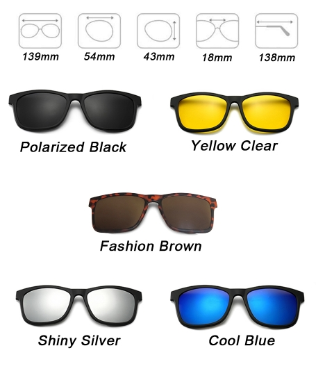 Basic Govean Interchangeable Polarized 5 in 1 Sunglasses <b>Red</b>