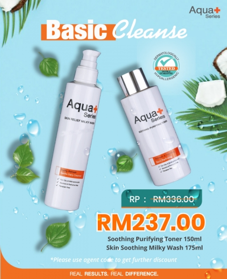 Aqua+ Basic Cleanse (1pc-<b>Skin Soothing Milky Wash </b>+1pc-<b>Smoothing Purifying Toner 150ML</b>)