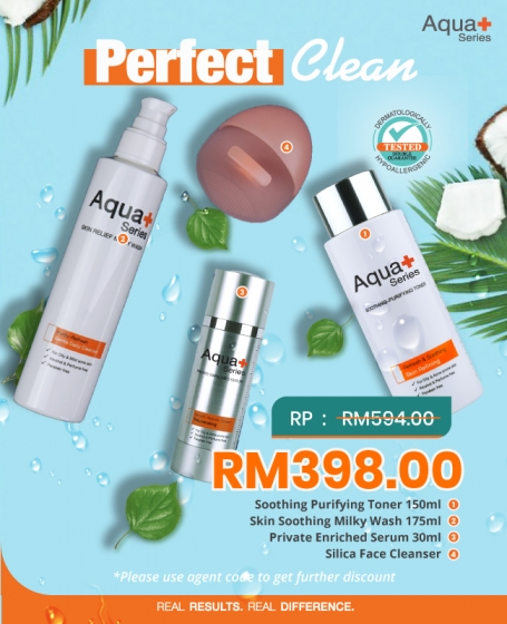 Aqua+ Perfect Clean (1pc-<b>Skin Soothing Milky Wash</b>+1pc-<b>Smoothing Purifying Toner 150ML</b>+1pc-<b>Private Enriched Serum</b>+1pc-<b>Silica Face Cleaner</b>)