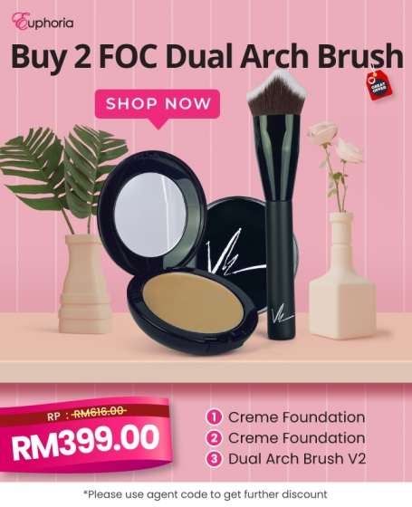 Vie Buy 2 FOC Dual Arch Brush (2pcs-<b>Crème Foundation</b>+1pc-<b>Dual Arch Brush V2</b>)