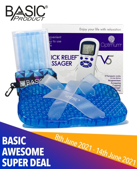 Basic Awesome Super Deal (1pc-<b>Quick Relief Massager V5</b>+1pc-<b>Relaxation Sandal</b>+1pc-<b>Basic Shopping Bag</b>+1pack-<b>Optimum Face Mask</b>)