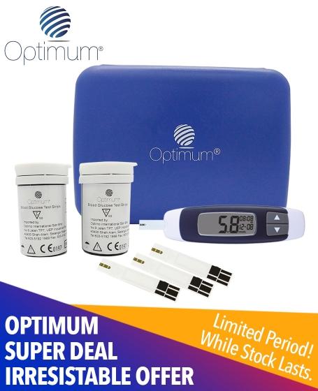 Optimum Super Deal Irresistable Offer (2pcs-<b>Optimum Blood Glucose Test Strips</b> + 1pc-<b>Optimum Blood Glucose Machine </b> + 1pc-<b>Optimum Blood Glucose Travelling Case</b>)