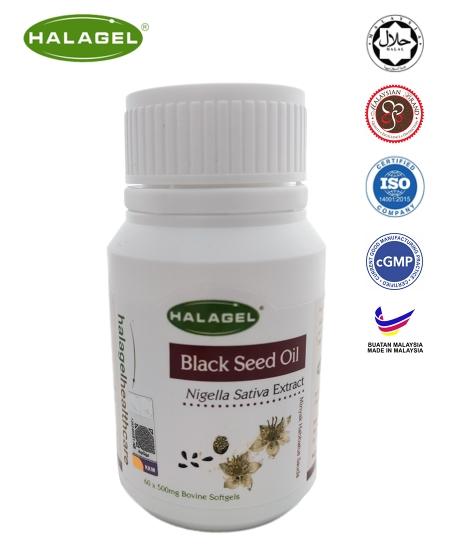 Halagel <br/> <b>Black Seed Oil<br/> </b> 500mg 60pcs Bovine Softgels